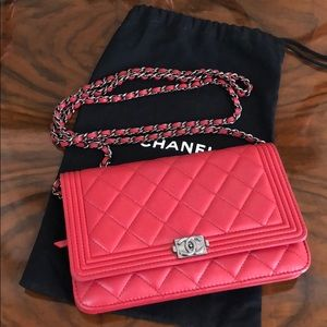 Chanel Boy Bag Red Wallet on a Chain